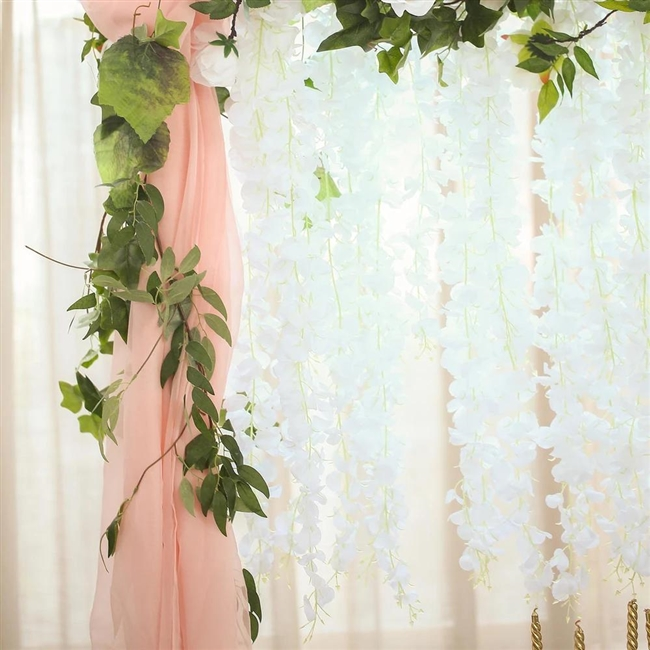 4ft Hanging Garland White Artificial Wisteria Vine Floral