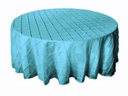 "108"" Round Tablecloth Pintuck - Turquoise"