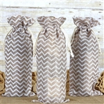 "6""x15"" Natural Chevron Jute Burlap Favor Bags - 10 Pack"