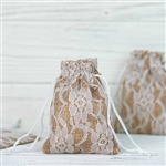 "3""x4"" Rustic Burlap and Floral Lace Drawstring Favor Bags - 10 Pack"