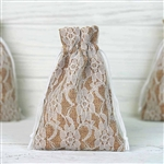 "4""x6"" Rustic Burlap and Floral Lace Drawstring Favor Bags - 10 Pack"
