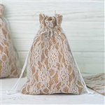 "5""x7"" Rustic Burlap and Floral Lace Drawstring Favor Bags - 10 Pack"