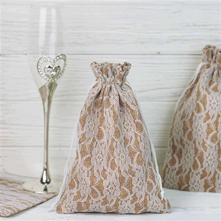 "6""x9"" Rustic Burlap and Floral Lace Drawstring Favor Bags - 10 Pack"