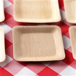 "25 Pack - Sleek Bamboo 3.5"" Square Plates"