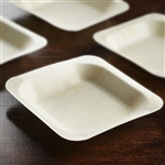 "25 Pack - Eco-friendly Birchwood 4.5"" x 4.5"" Square Plates 