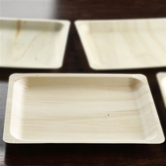 12 Pack - Stylish Sustainable Birchwood 10.5  x 8.5  Rectangle Plate & Buy Birchwood Disposable Plates at discounted prices