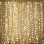 20FT x 10FT 600 Sequential Warm White LED Lights Party Photography Organza Curtain Backdrop
