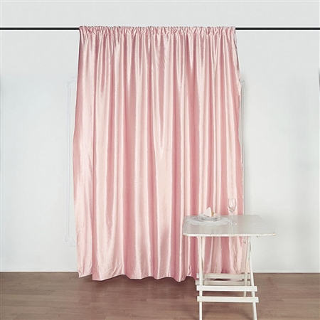 8Ft H x 8Ft W Econoline Velvet Backdrop Curtain Panel Drape - Blush