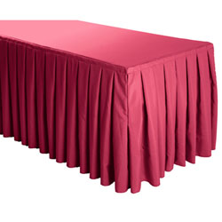 Box Pleat Polyester Table Skirts - 6 Foot Table (3 sides covered) - 11.5 foot section
