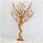 "VOGUE 30"" Tall Manzanita Tree with Flower Tipped Branches - Metallic Gold"