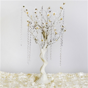 "VOGUE 30"" Tall Glittered Manzanita Tree with Flower Tipped Branches - White"