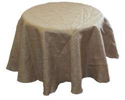 "Burlap 120"" Round Tablecloth – Natural"