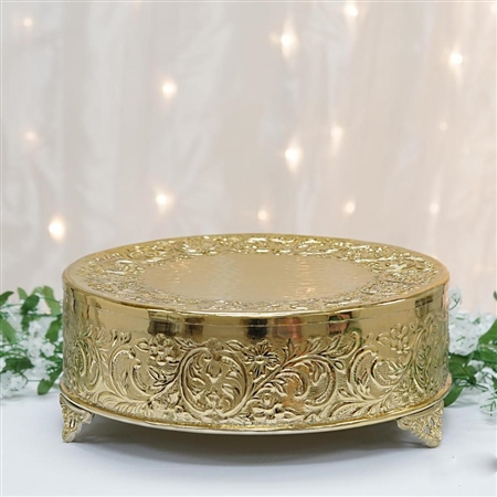 "14"" Gold Round Embossed Metal Cake Stand"
