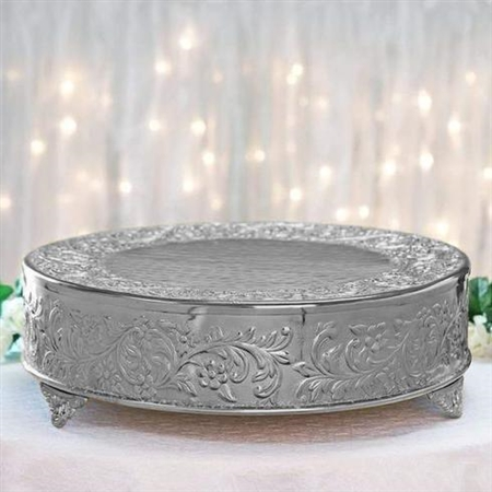 "18"" Silver Round Embossed Metal Cake Stand"