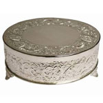 "22"" Silver Round Embossed Metal Cake Stand"