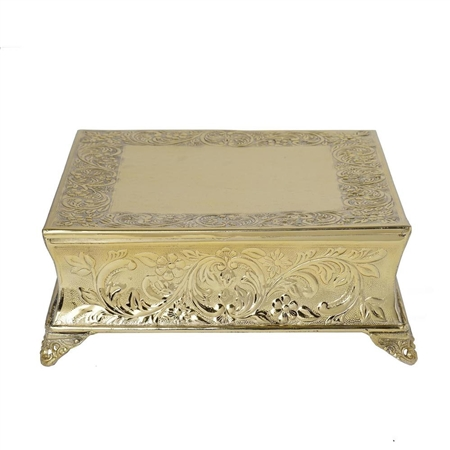 "14"" Gold Square Embossed Metal Cake Stand"