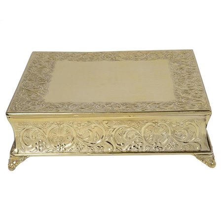 "18"" Gold Square Embossed Metal Cake Stand"