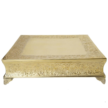 "22"" Gold Square Embossed Metal Cake Stand"