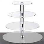 4 Tier Heavy Duty Acrylic Crystal Glass Cupcake Dessert Decorating Stand - Round