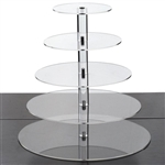 5 Tier Heavy Duty Acrylic Crystal Glass Cupcake Dessert Decorating Stand - Round
