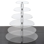 6 Tier Heavy Duty Acrylic Crystal Glass Cupcake Dessert Decorating Stand - Round