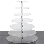 7 Tier Heavy Duty Acrylic Crystal Glass Cupcake Dessert Decorating Stand - Round