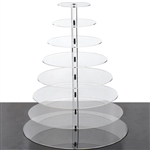 8 Tier Heavy Duty Acrylic Crystal Glass Cupcake Dessert Decorating Stand - Round