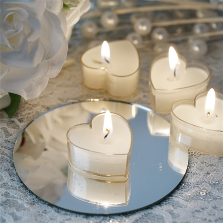 Heart Tealight Candles 12 Pack - White