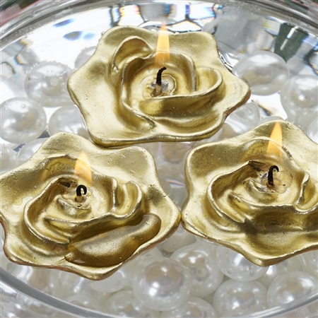 Floating Rose Candle 4 Pack - Gold