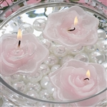 Floating Rose Candle 4 Pack - Pink