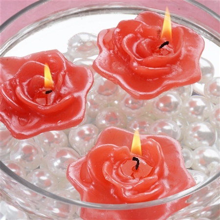 Floating Rose Candle 4 Pack - Red