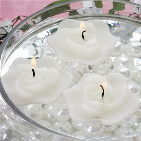 Floating Rose Candle 4 Pack - White