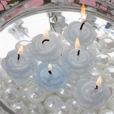 Mini Floating Rose Candle 12 Pack - Blue