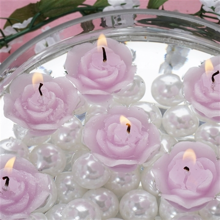 Mini Floating Rose Candle 12 Pack - Lavender