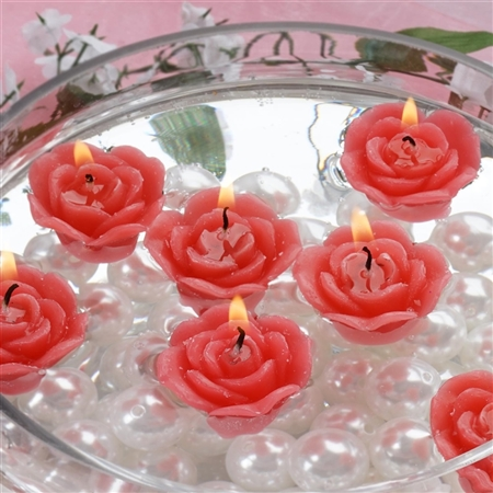 Mini Floating Rose Candle 12 Pack - Red
