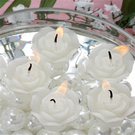 Mini Floating Rose Candle 12 Pack - White