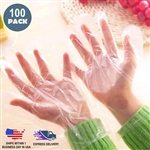 Clear Plastic Disposable Gloves, Powder Free Multipurpose Plastic Gloves, Food Service Gloves - Pack of 100