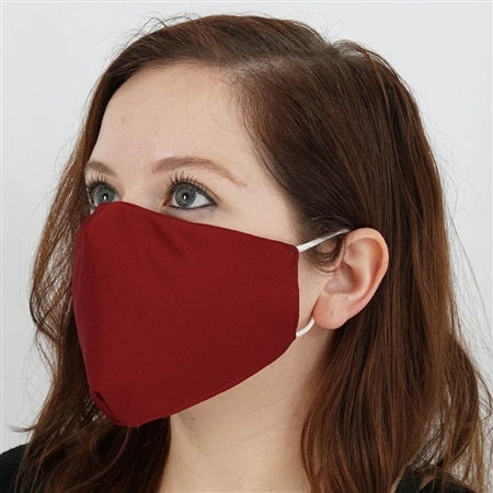 2 Ply Organic Cotton Washable Face Mask, Fabric Face Mask with Soft Ear Loops - Pack of 5 - Burgundy