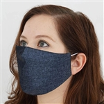 2 Ply Organic Cotton Washable Face Mask, Fabric Face Mask with Soft Ear Loops - Pack of 5 - Blue Denim
