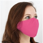 2 Ply Organic Cotton Washable Face Mask, Fabric Face Mask with Soft Ear Loops - Pack of 5 - Fushia