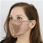 Sequined Cotton Fashion Face Mask, Washable Reusable Face Mask with Ear Loops - Pack of 5 - Blush/Rose Gold