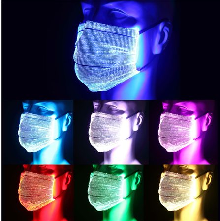 7 Colors Reusable LED Face Mask, USB Rechargeable Color Changing Face Mask With PM 2.5 Filter For Men & Women