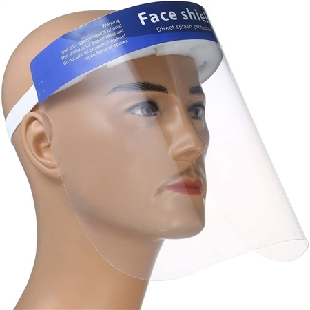 Protective Face Shield with Elastic Band and Comfort Sponge - Protects from Sneezing, Splash, Droplets