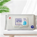Sterilization Antibacterial Wipes, Disinfectant Sanitizer Wet Wipes - Pack of 60