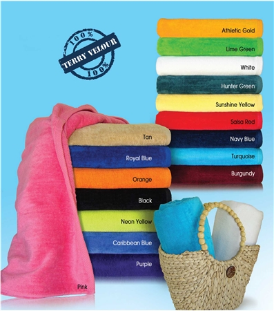 32x64 Terry Velour Beach Towels (assorted colors)