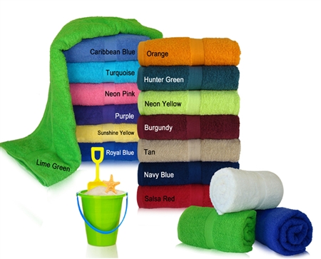34x70 Terry Cotton Beach Towels (assorted colors)