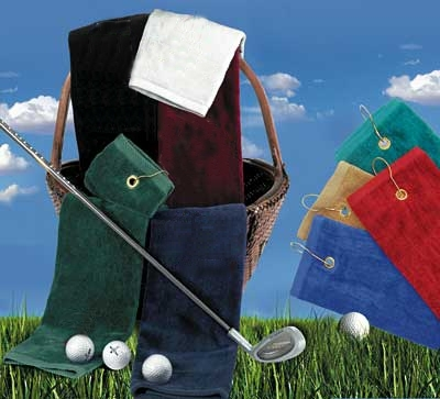 16x25 Tri-Folded Golf Towels with grommet and hook