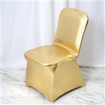 Lame Spandex Banquet Chair Cover Metallic Gold - Bulk Chair Covers | RazaTrade