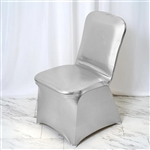 Lame Spandex Banquet Chair Cover Metallic Silver - Bulk Chair Covers | RazaTrade