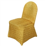 Metallic Spandex Banquet Chair Cover - Gold